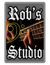 PERSONALIZED BASS PLAYER SIGN DURABLE ALUMINUM NO RUST FULL COLOR CUSTOM SIGN..