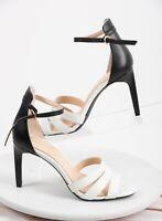 Jessica Simpson Womens Heels Pumps Sandals Sz 7 Black White Ankle Strap Open toe