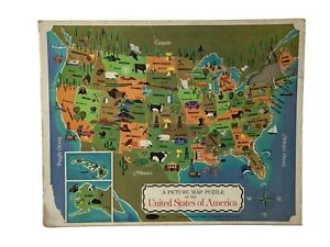 Vtg Whitman Picture Map Puzzle The United States of America Tray Puzzle 1968