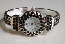 Silver finish Rhinestones bangle cuff fashion women's dressy party watch