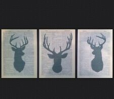 3 X Vintage Stag Head Prints 1933 Dictionary Page Wall Art Picture Grey Upcycled