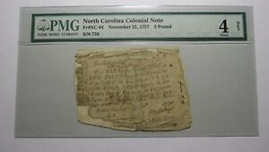 £5 1757 North Carolina NC Colonial Currency Note Bill! Five Pounds! PMG Graded