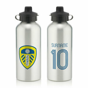 PERSONALISED Leeds United FC Gifts - Retro Shirt Water Bottle - Official