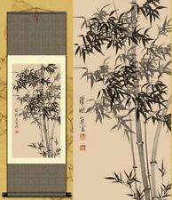 Chinese Silk Scroll Painting Gongbi Lucky Bamboo Portraits Home Decoration
