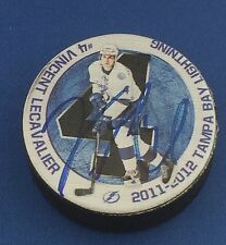 Vincent Lecavalier #4 Signed Puck Tampa Bay Lightning 2011-2012