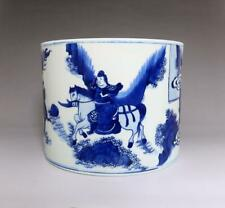 CHINESE OLD BLUE AND WHITE PORCELAIN BRUSH POT WITH WENZHANGSHANDOU MARKED (E57)