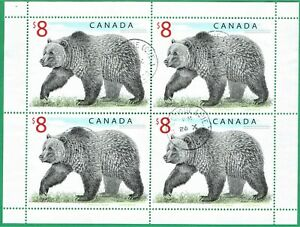 [Sto319] CANADA 1997 Scott#1694 $8 Grizzly Bear Definitive Sheet Block of 4 used