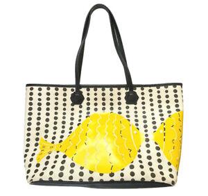 """JONATHAN ADLER Medium Duchess Tote Bag Yellow Fish 2  Shoulder Handles 19""""L"""