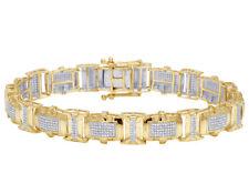 "Mens Real 10K Yellow Gold Genuine Diamond 10 MM Designer Link Bracelet 2 CT 8.5"""