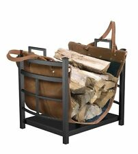 NEW Firewood Log Bin with Leather Carrier for Fireplace