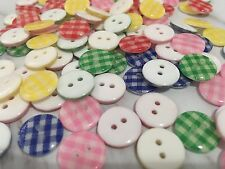 50pcs 13mm Mixed Resin Plastic Round checked Buttons Sewing Crafts Scrapbook Diy