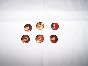 6 PORTRAIT LADIES c1900 Celluloid Advertising PINBACK BUTTONS Whitehead & Hoag