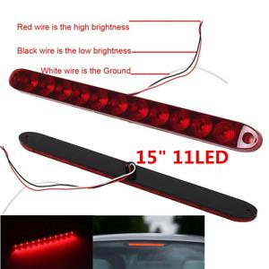 """Red Cover 11LED Light Bar Stop Turn Tail 3rd Brake Light Car Truck Trailer 15"""""""