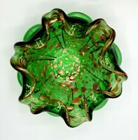 Murano Italy Green Art Glass Ashtray / Bowl with Gold Copper sparkle Vintage