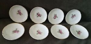 "Antique China Butter Pats 3"" Diam. With Tea Rose & Gilt Edging  Lot of 8"