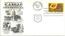 FDC, Kansas Centennial, 1961,  cachet Stamps
