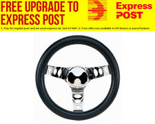 "Grant 10"" Classic Series Steering Wheel Chrome 3 Spoke, Black Vinyl Grip. 5-1/2"""