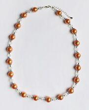 Sale Stunning Orange Glass Pearls & Italian Crystal Necklace