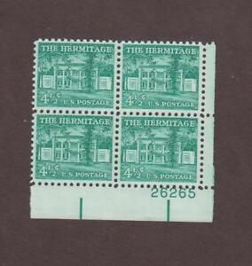 US,1037,PLATE BLOCK,MNH,1950'S LIBERTY SERIES MINT NH,OG