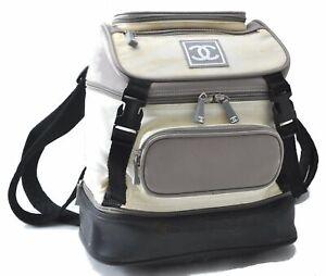 Authentic CHANEL Nylon Leather CC Logo Sports Line Backpack White Black B6225
