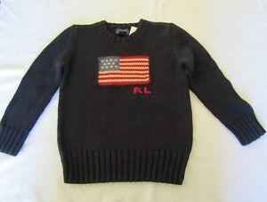 BOYS SIZE 6 POLO RALPH LAUREN CREW NECK AMERICAN FLAG SWEATER NWT