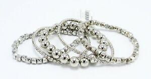 New 5 Piece Silver Rhinestone Stretch Bracelet Set by Banana Republic #B1285