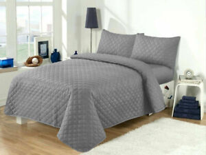 QUILTED EMBOSSED BEDSPREAD THROW COMFORTER SET SINGLE DOUBLE SUPER KING BED SIZE