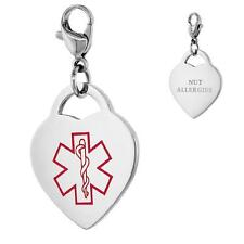 NUT ALLERGIES Stainless Steel Medical Alert Heart Shape Charm w/ Lobster Clasp