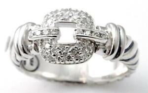 DAVID YURMAN MADISON  STERLING DIAMOND PAVE CABLE RING SIZE 6.5