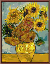 "Painting DIY Acrylic Paint By Number Cotton Canvas 16""x20"" - Van Gogh Sunflower"