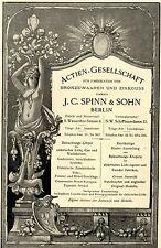 J.C.Spinn & Sohn Berlin BRONZEWAAREN & ZINKGUSS Historische Reklame von 1896