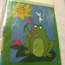 """Nice Garden Flag Welcome Frog on a Lilly Pad 18 x 12 """" 6b"""