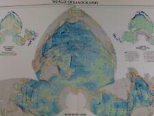 World oceanography Bathymetric chart temperature currents fauna 1959 vintage map