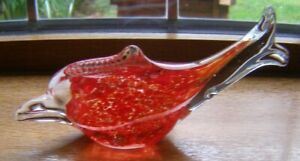 MURANO ART GLASS DOLPHIN/FISH PAPERWEIGHT RED WHITE & CLEAR GLASS 18.3CM X 6.7CM