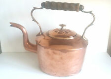 Antique Swan Neck COPPER KETTLE with Dovetail Joints, Large, Turned Wood Handle