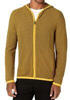 Alfani Mens Sweater Yellow Black Size 2XL Striped Knit Full Zip Hoodie $75 267