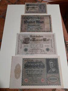 banconote Germania marchi dal 1910 al 1922 lotto 4 banconote