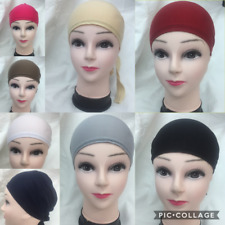 Women Ladies  Under Scarf Hijab TIE BACK Bone  Bonnet Cap 17 Colours Stretchable
