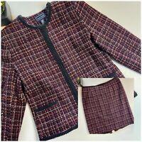Laura Scott Vintage Women's Tweed Suit Set Dark Pink Black
