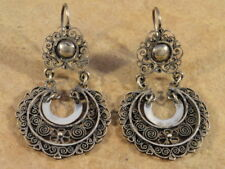 Mexican Mexico Sterling Silver Frida Hoop Earrings