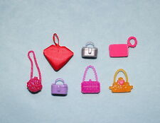 Nice Lot of 7 Pink Silver Red Gold Genuine Barbie Purses Handbags Clutches