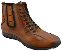 $230 OVATTO Brown Tabac Calf Leather Ankle Boots Men Shoes NEW COLLECTION