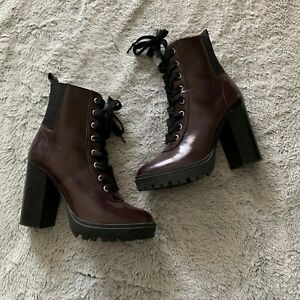 STEVE MADDEN LATCH LEATHER lace up boots size 6.5