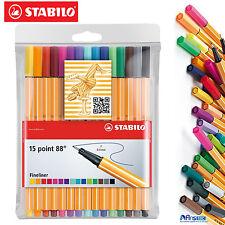 Stabilo point 88 fineliner stylo à bille art stylos, standard 15 couleurs pochette 15