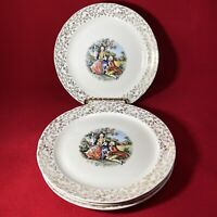 EASTERN CHINA N.Y. 4 BREAD PLATES COLONIAL COUPLE 22K Gold rim 7.25 in Vintage