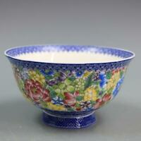 Chinese Qing Qianlong Blue and White Porcelain Famille-rose Flower Bowl