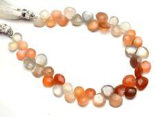 "Natural Gemstone Multi Moonstone 8-9mm Faceted Heart Shape Briolette Beads 8"""
