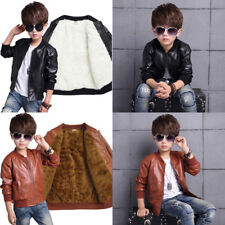 Kids Boys Casual PU Leather Jacket Trench Fleece Outwear School Travel Overcoats