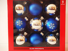 glass ornament 9 count blue and silver decorative