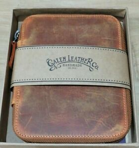 Galen Leather Hand Made 10 Pen Case New ( distressed worn leather look )